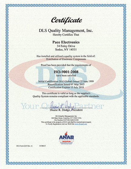 Quality Certifications Electronic Manufacturing | Pace
